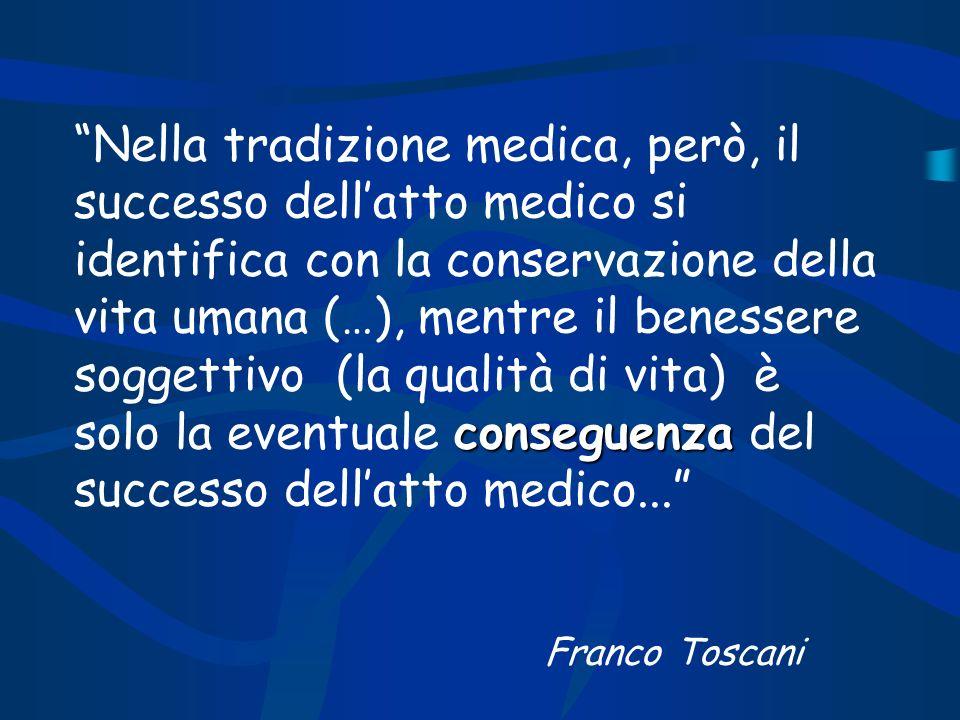 Nella tradizione medica, però, il successo dell'atto medico si identifica con la conservazione della vita umana (…), mentre il benessere soggettivo (la qualità di vita) è solo la eventuale conseguenza del successo dell'atto medico...