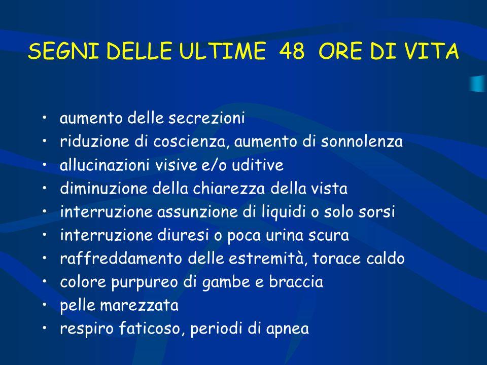 SEGNI DELLE ULTIME 48 ORE DI VITA