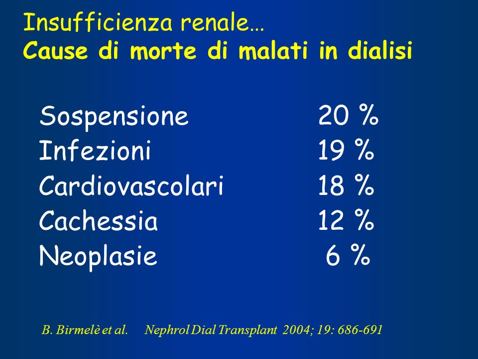 Insufficienza renale… Cause di morte di malati in dialisi