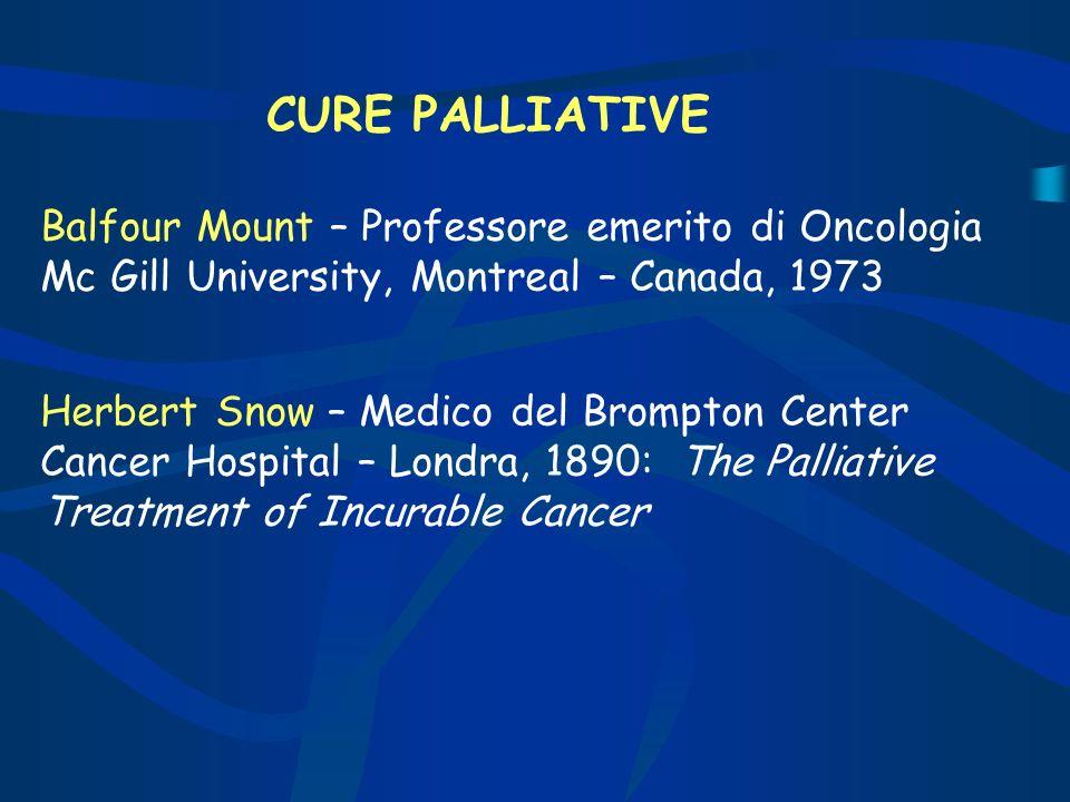 CURE PALLIATIVEBalfour Mount – Professore emerito di Oncologia Mc Gill University, Montreal – Canada, 1973.