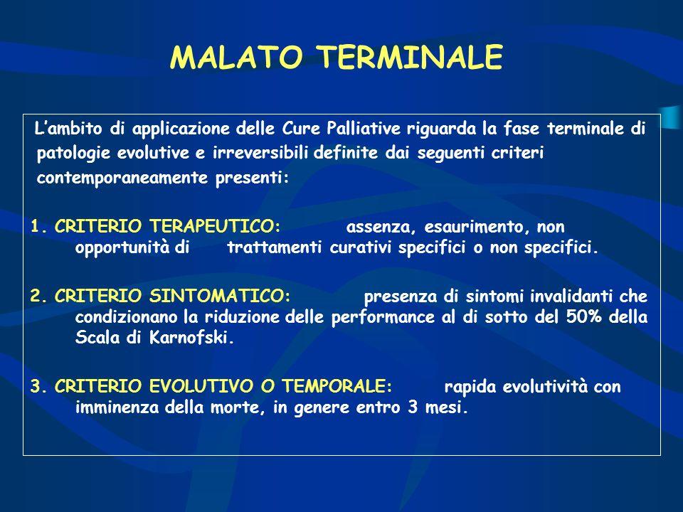 MALATO TERMINALE L'ambito di applicazione delle Cure Palliative riguarda la fase terminale di.