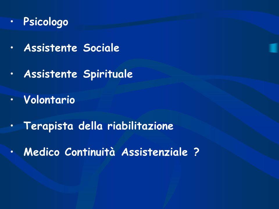 Psicologo Assistente Sociale. Assistente Spirituale. Volontario. Terapista della riabilitazione.