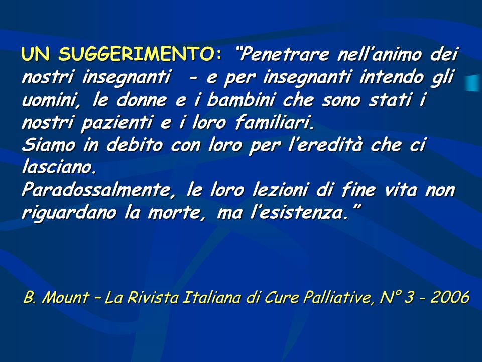 B. Mount – La Rivista Italiana di Cure Palliative, N°
