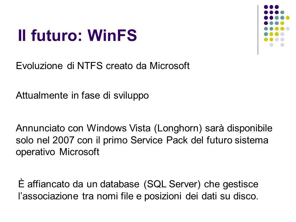 Il futuro: WinFS Evoluzione di NTFS creato da Microsoft