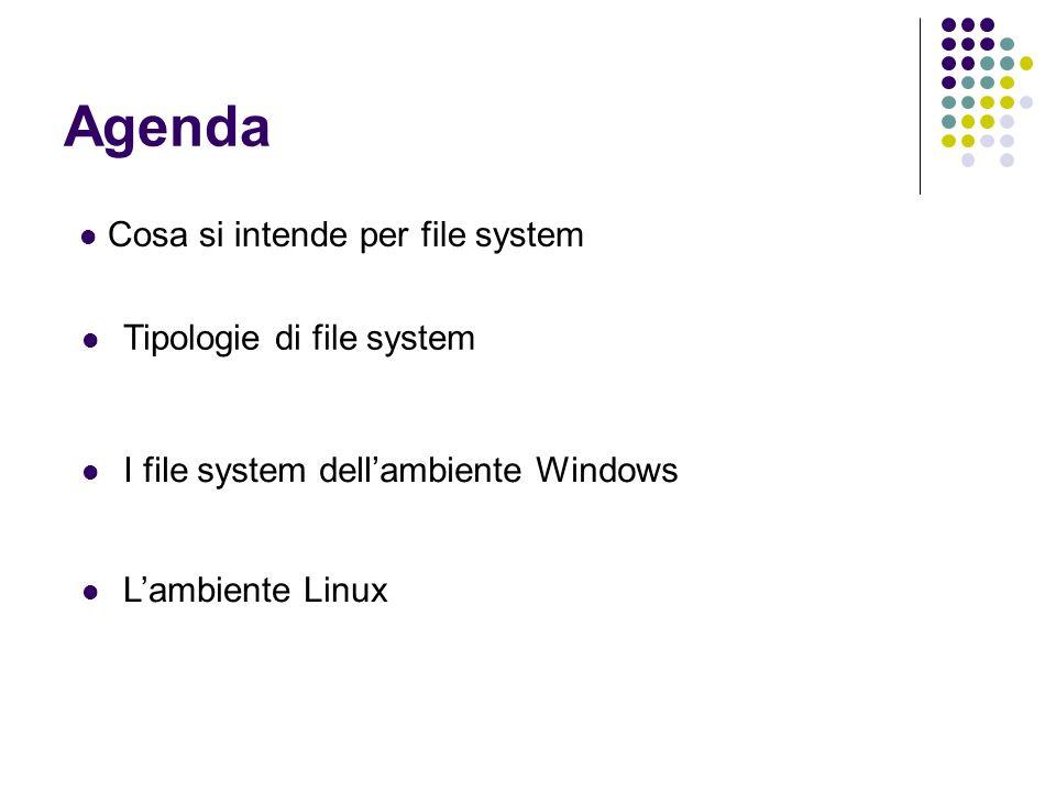 Agenda Cosa si intende per file system Tipologie di file system