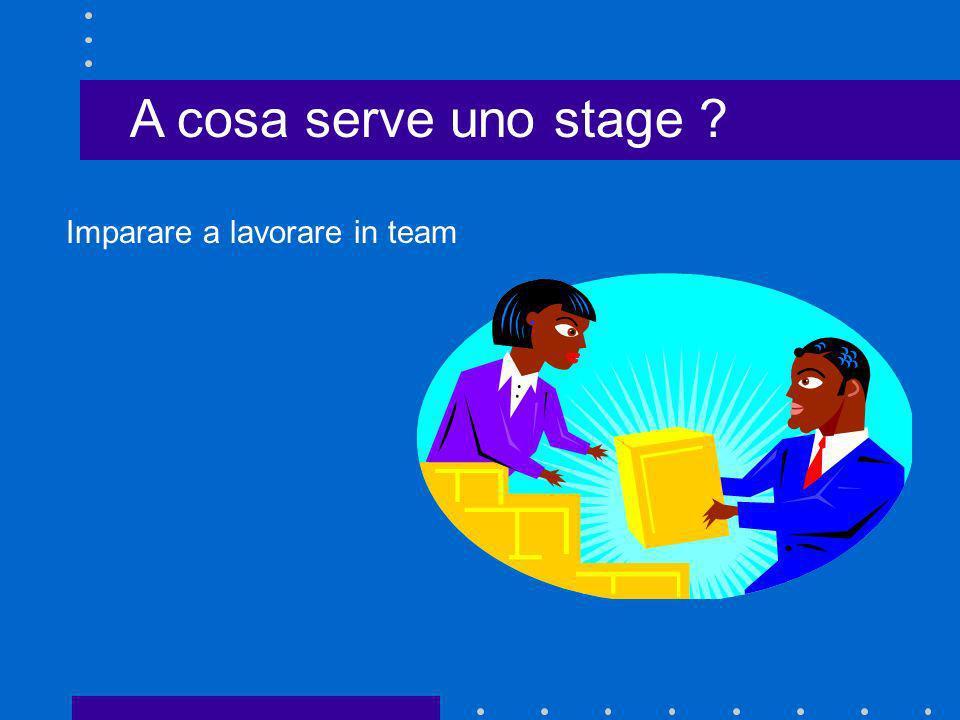 A cosa serve uno stage Imparare a lavorare in team