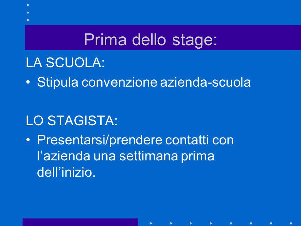 Prima dello stage: LA SCUOLA: Stipula convenzione azienda-scuola