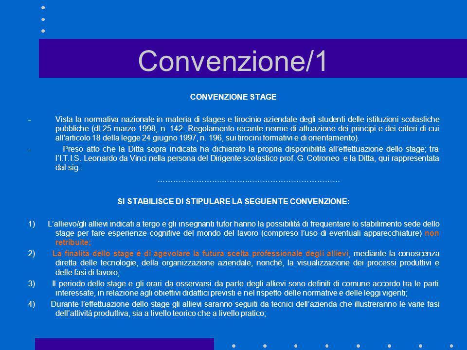 Convenzione/1 CONVENZIONE STAGE