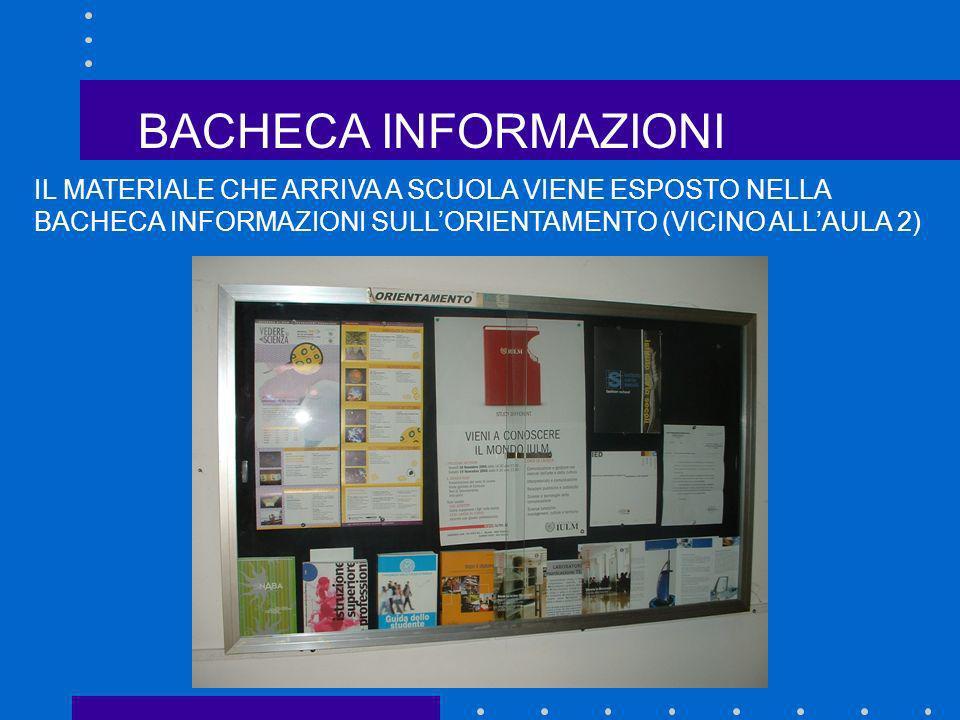 BACHECA INFORMAZIONI IL MATERIALE CHE ARRIVA A SCUOLA VIENE ESPOSTO NELLA BACHECA INFORMAZIONI SULL'ORIENTAMENTO (VICINO ALL'AULA 2)