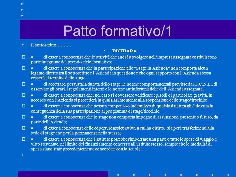 Patto formativo/1 Il sottoscritto………. DICHIARA