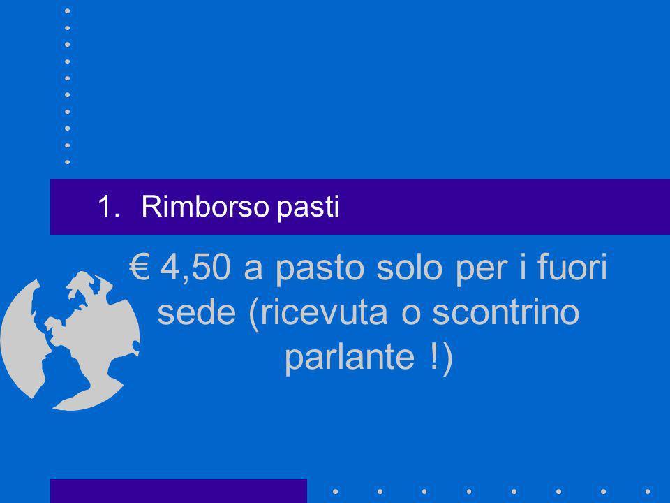 € 4,50 a pasto solo per i fuori sede (ricevuta o scontrino parlante !)