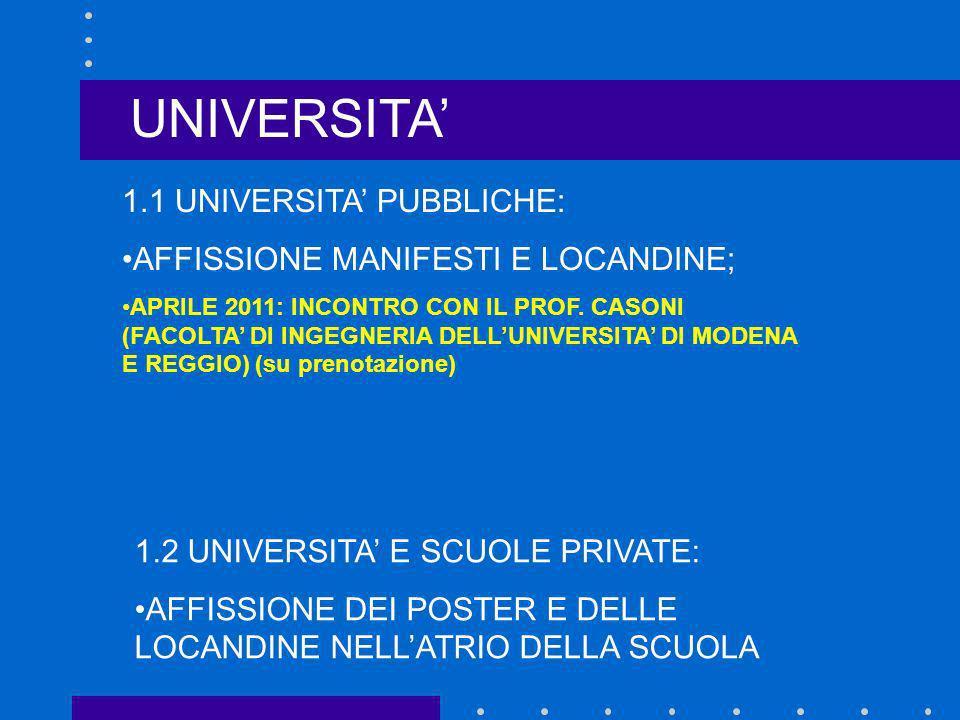 UNIVERSITA' 1.1 UNIVERSITA' PUBBLICHE: