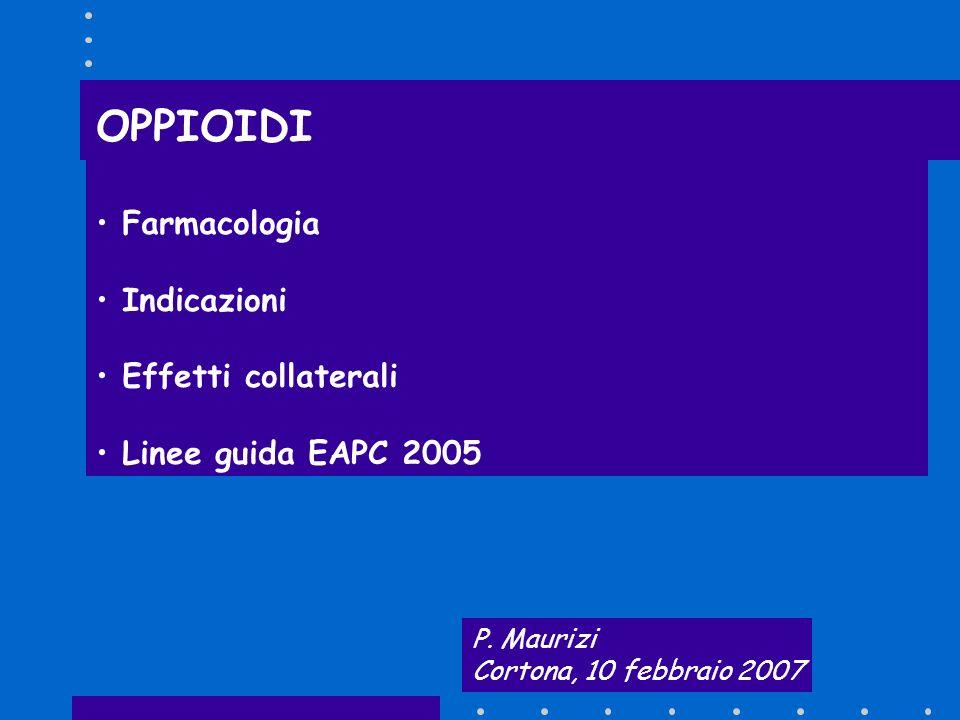OPPIOIDI Farmacologia Indicazioni Effetti collaterali