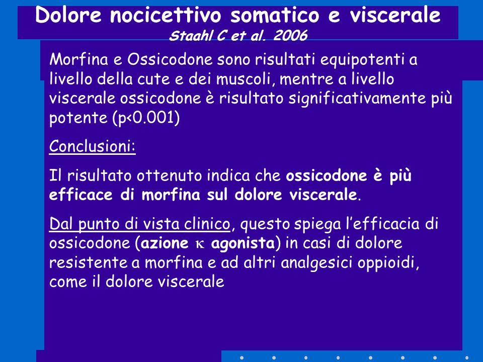Dolore nocicettivo somatico e viscerale Staahl C et al. 2006