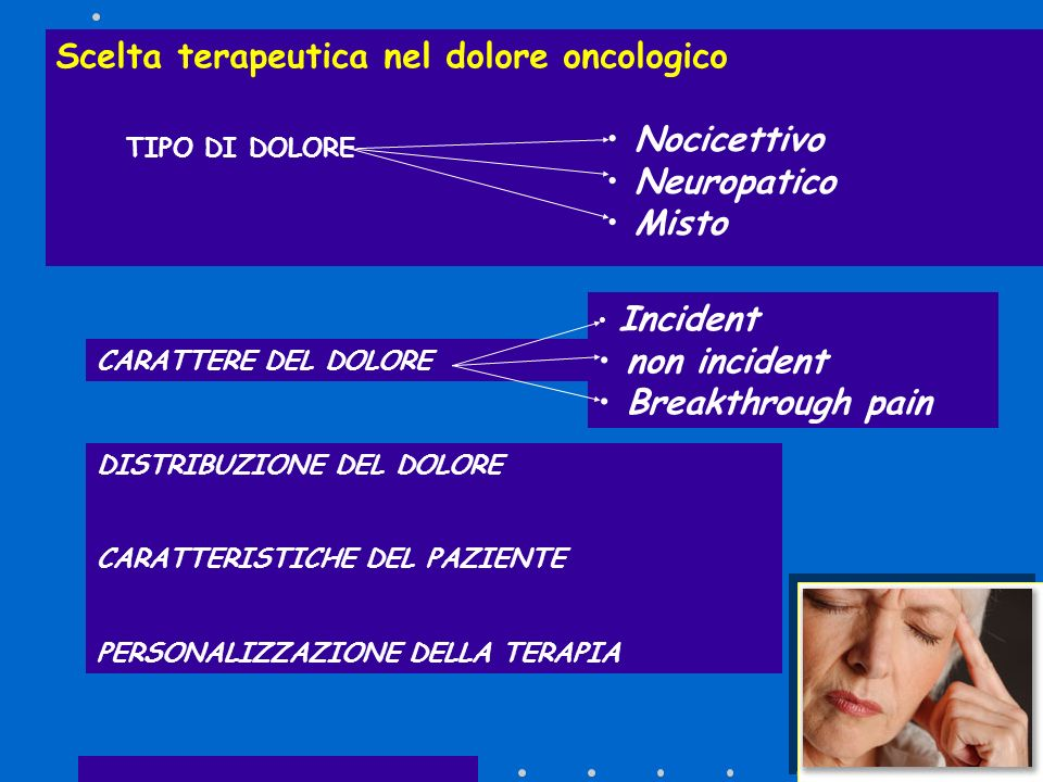 TIPO DI DOLORE Scelta terapeutica nel dolore oncologico Nocicettivo