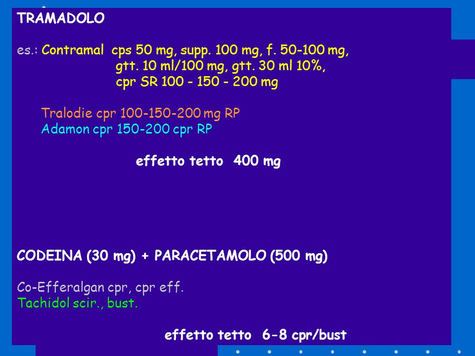 TRAMADOLO es.: Contramal cps 50 mg, supp. 100 mg, f. 50-100 mg, gtt. 10 ml/100 mg, gtt. 30 ml 10%,