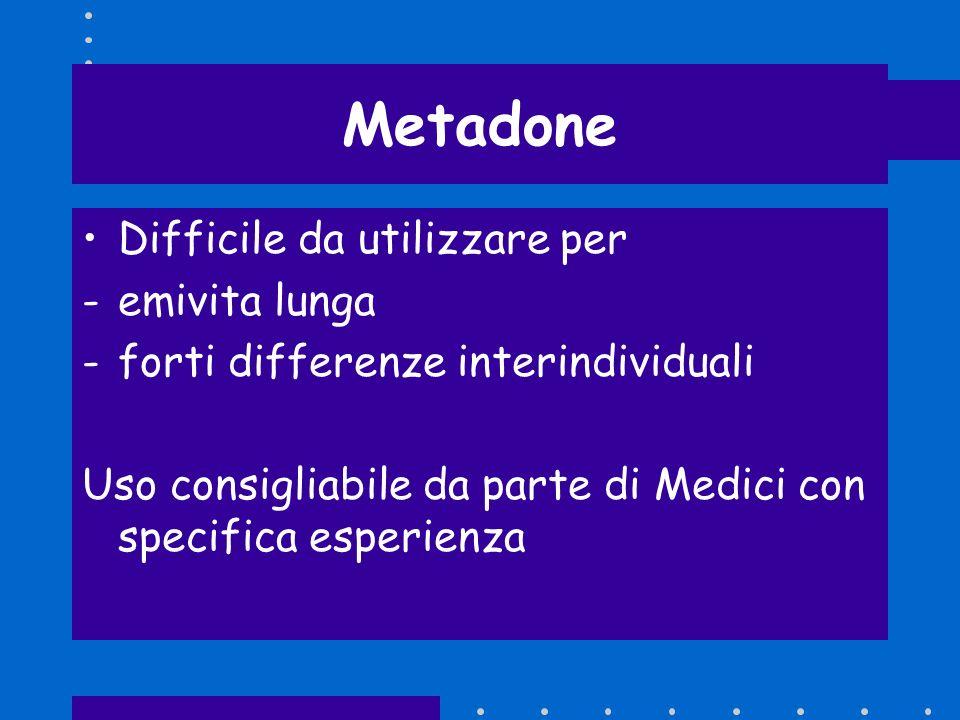 Metadone Difficile da utilizzare per emivita lunga