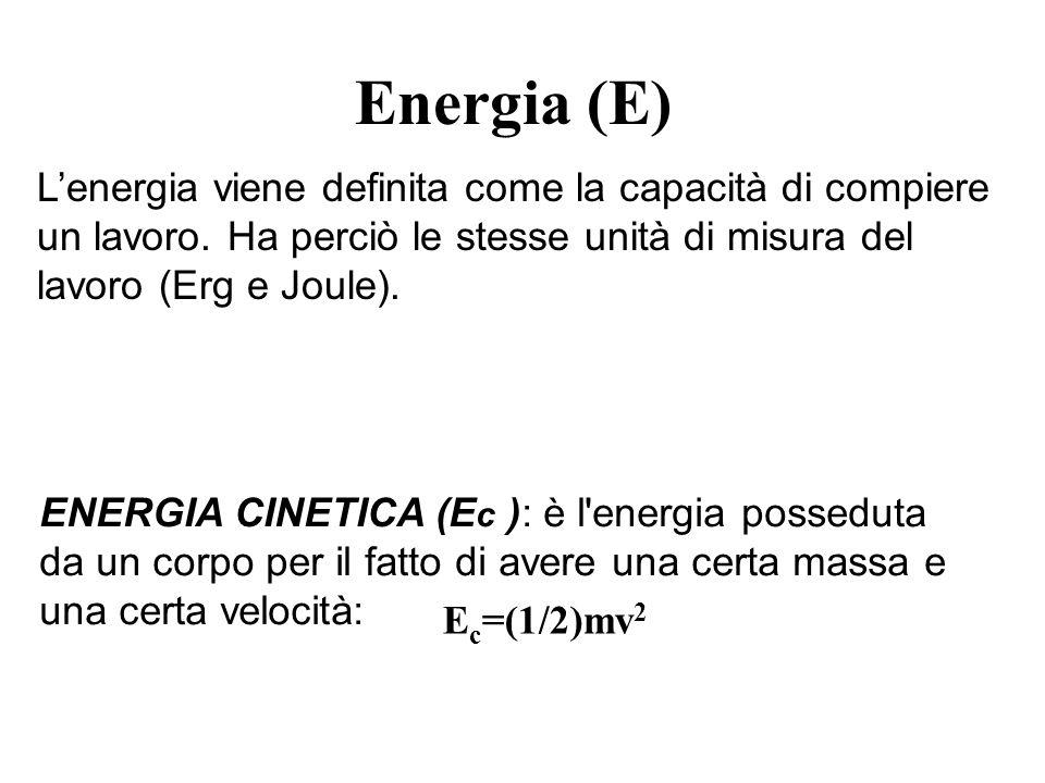 Energia (E) L'energia viene definita come la capacità di compiere un lavoro. Ha perciò le stesse unità di misura del lavoro (Erg e Joule).
