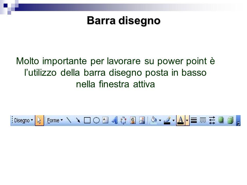Barra disegnoMolto importante per lavorare su power point è l'utilizzo della barra disegno posta in basso nella finestra attiva.