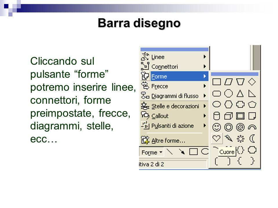 Barra disegno Cliccando sul pulsante forme potremo inserire linee, connettori, forme preimpostate, frecce, diagrammi, stelle, ecc…