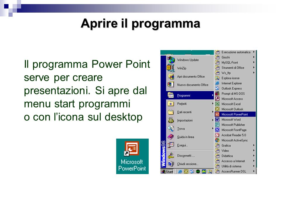 Aprire il programma Il programma Power Point serve per creare presentazioni. Si apre dal menu start programmi.