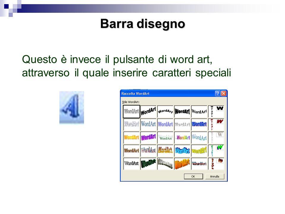 Barra disegnoQuesto è invece il pulsante di word art, attraverso il quale inserire caratteri speciali.