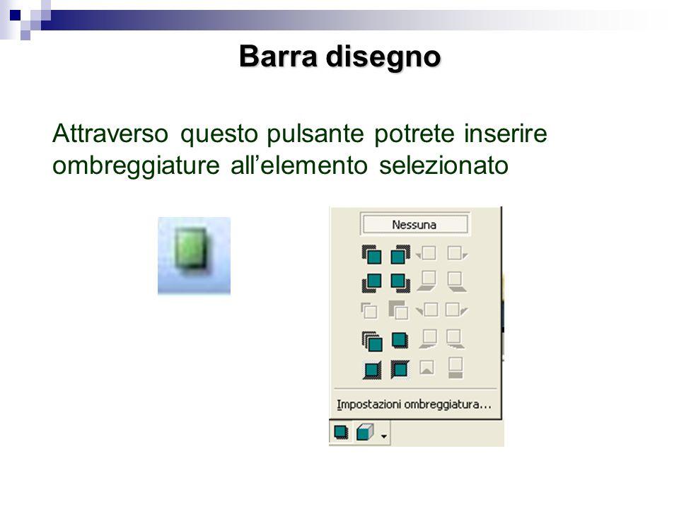 Barra disegno Attraverso questo pulsante potrete inserire ombreggiature all'elemento selezionato