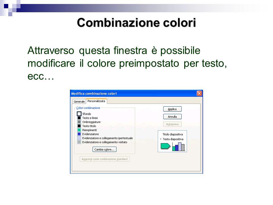 Combinazione coloriAttraverso questa finestra è possibile modificare il colore preimpostato per testo, ecc…