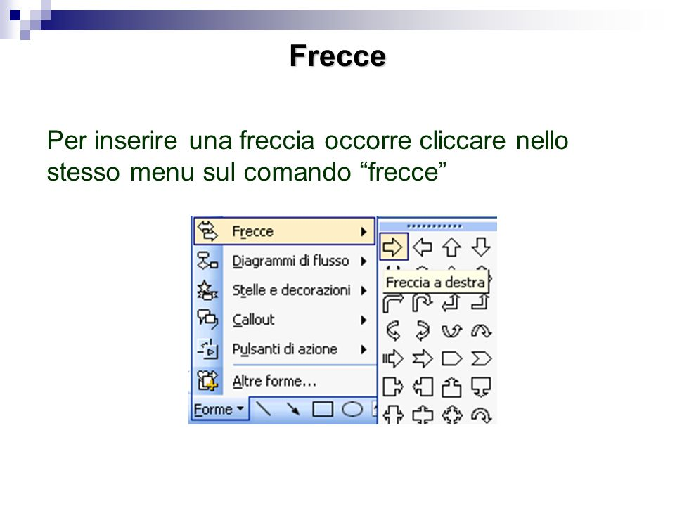 Frecce Per inserire una freccia occorre cliccare nello stesso menu sul comando frecce