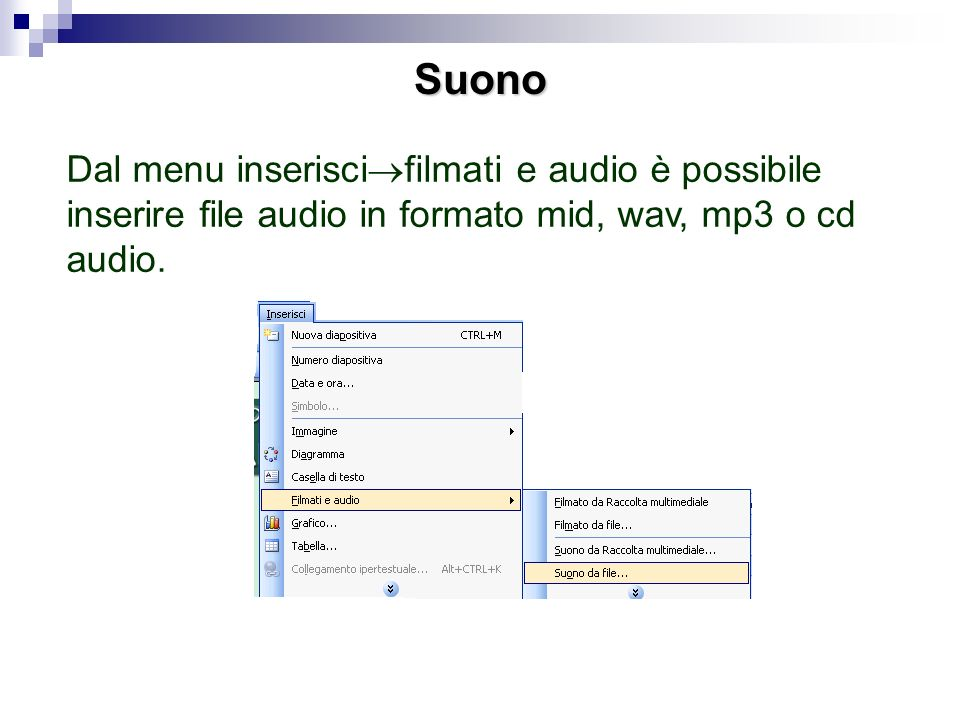 Suono Dal menu inseriscifilmati e audio è possibile inserire file audio in formato mid, wav, mp3 o cd audio.