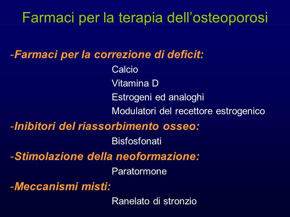 Farmaci per la terapia dell'osteoporosi