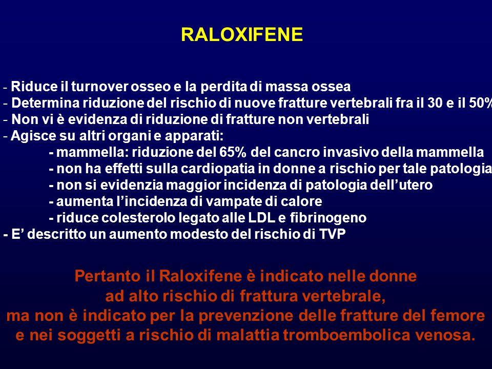 RALOXIFENE Pertanto il Raloxifene è indicato nelle donne