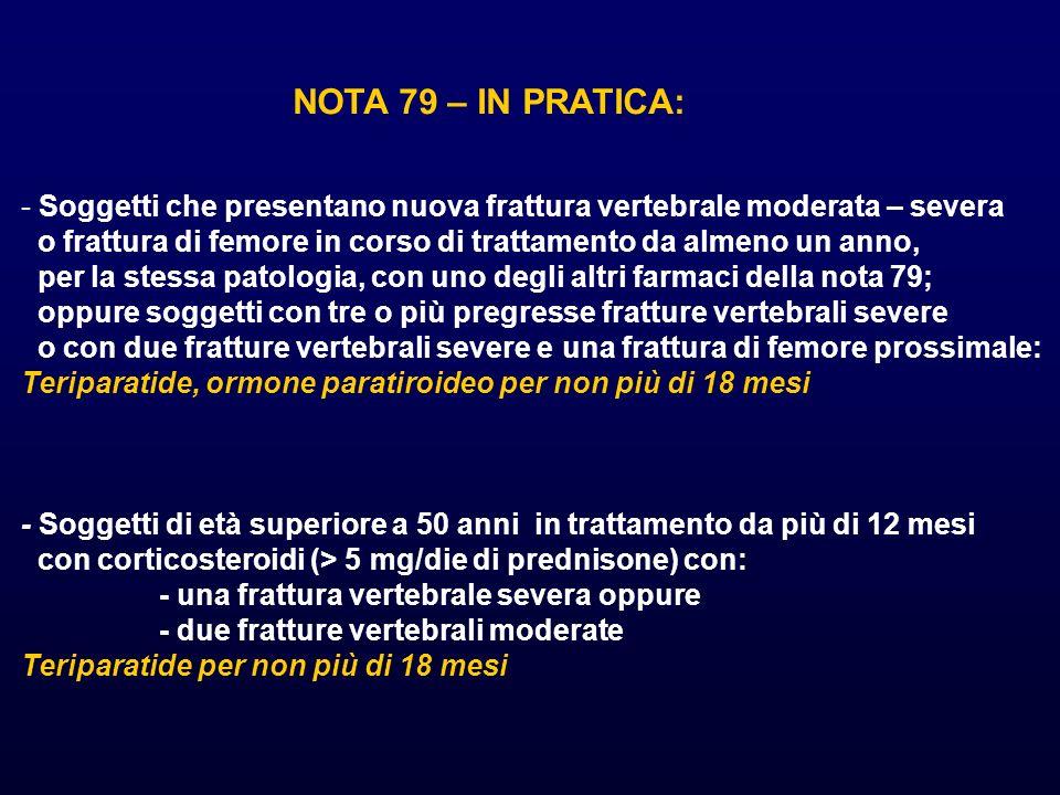 NOTA 79 – IN PRATICA: Soggetti che presentano nuova frattura vertebrale moderata – severa.