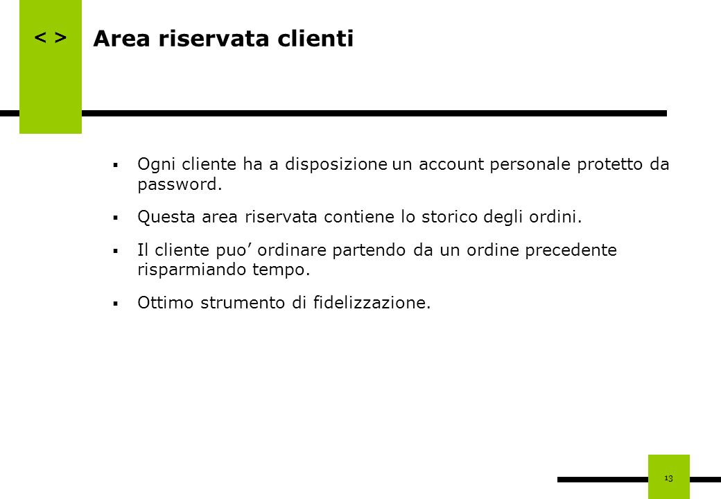 Area riservata clienti