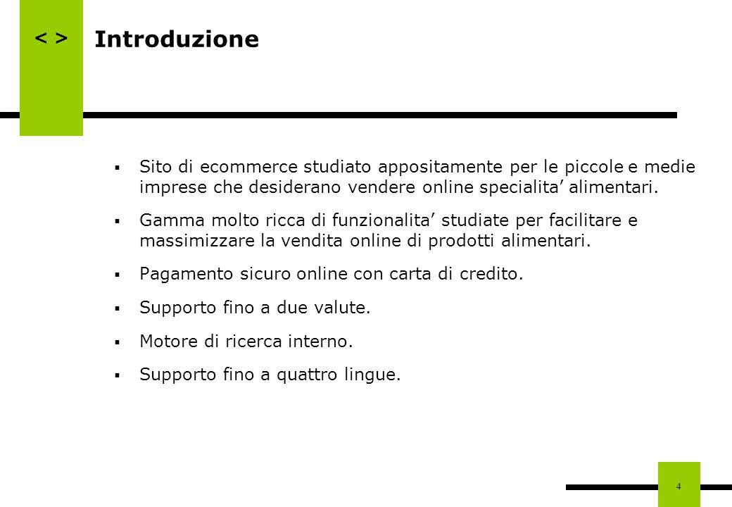 Introduzione Sito di ecommerce studiato appositamente per le piccole e medie imprese che desiderano vendere online specialita' alimentari.