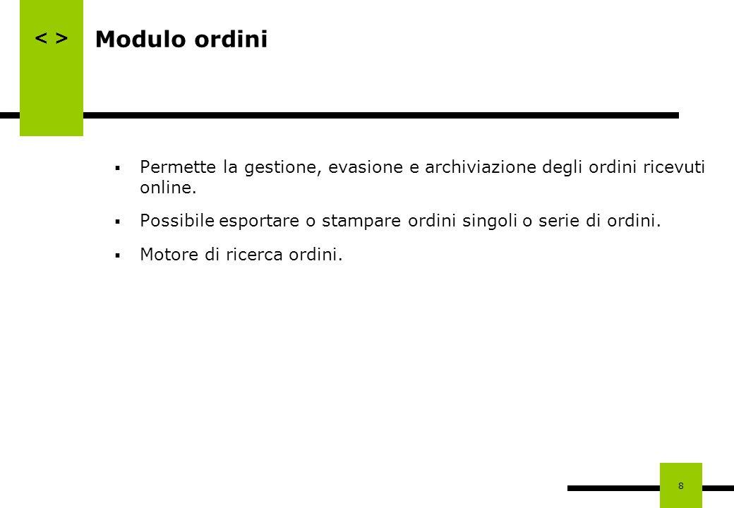 Modulo ordini Permette la gestione, evasione e archiviazione degli ordini ricevuti online.