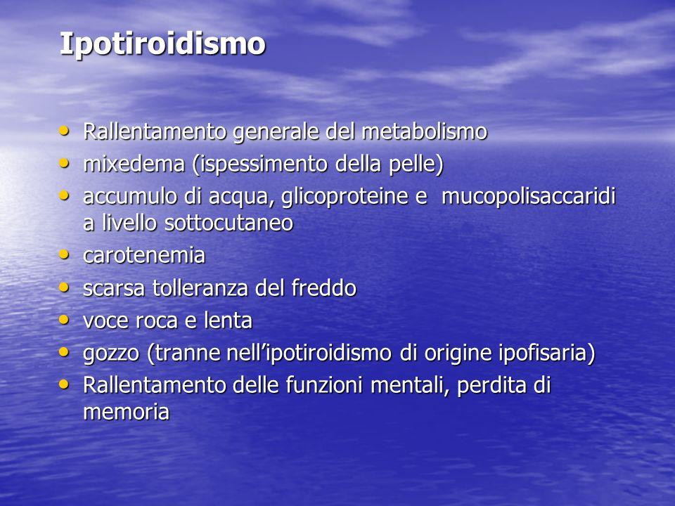 Ipotiroidismo Rallentamento generale del metabolismo