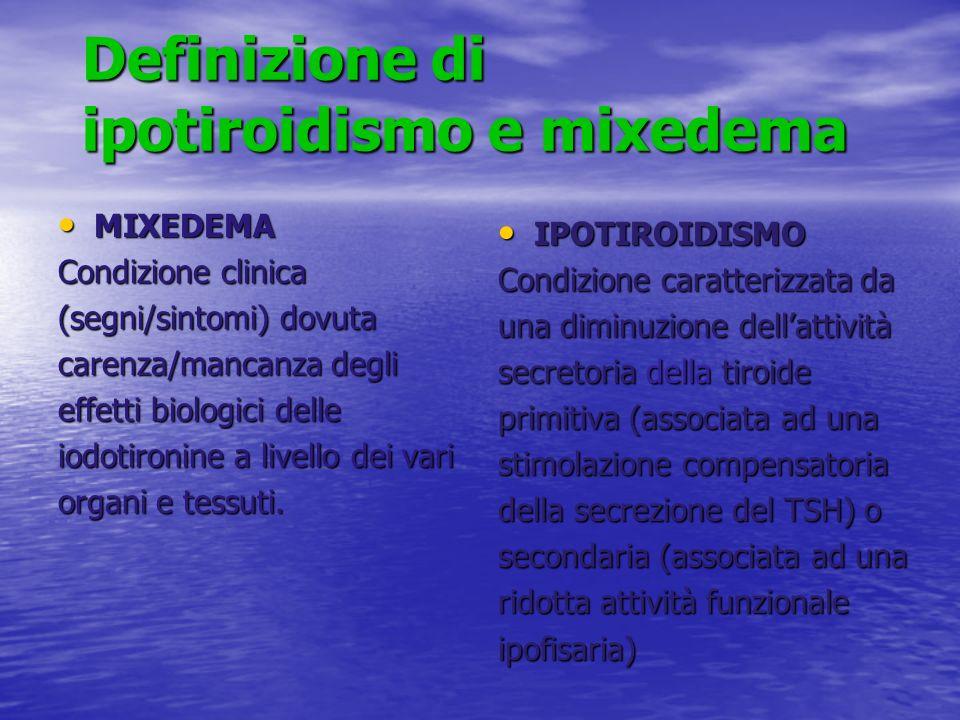 Definizione di ipotiroidismo e mixedema