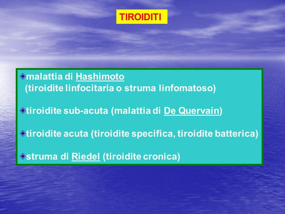 TIROIDITI: malattia di Hashimoto. (tiroidite linfocitaria o struma linfomatoso) tiroidite sub-acuta (malattia di De Quervain)