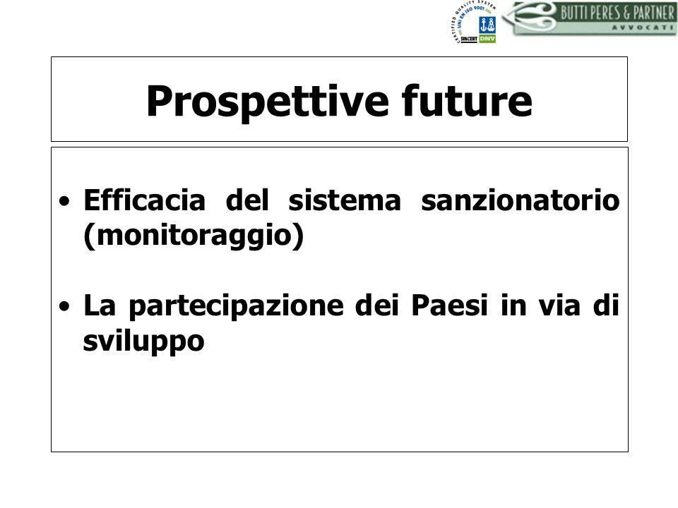 Prospettive future Efficacia del sistema sanzionatorio (monitoraggio)