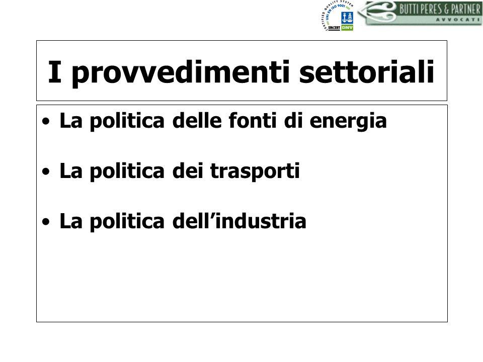 I provvedimenti settoriali