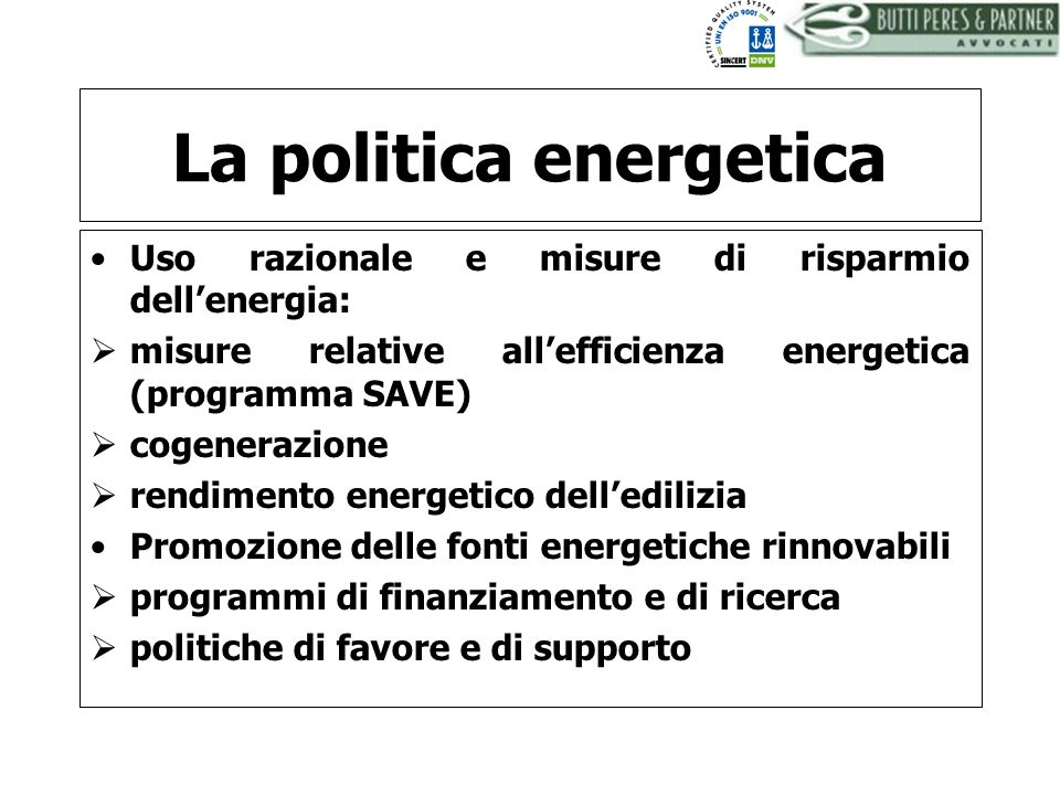 La politica energetica