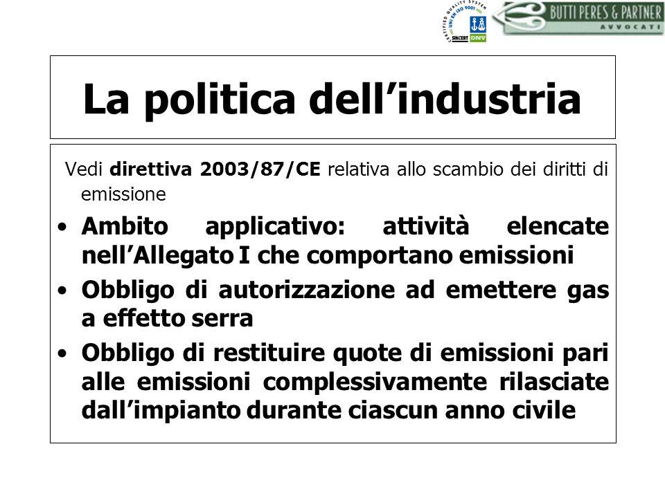 La politica dell'industria