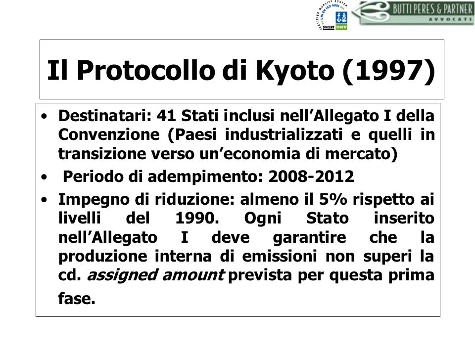 Il Protocollo di Kyoto (1997)