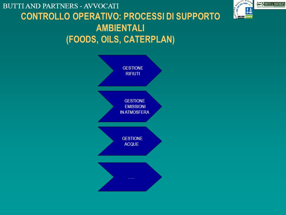 CONTROLLO OPERATIVO: PROCESSI DI SUPPORTO AMBIENTALI (FOODS, OILS, CATERPLAN)