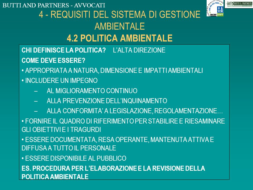 4 - REQUISITI DEL SISTEMA DI GESTIONE AMBIENTALE 4