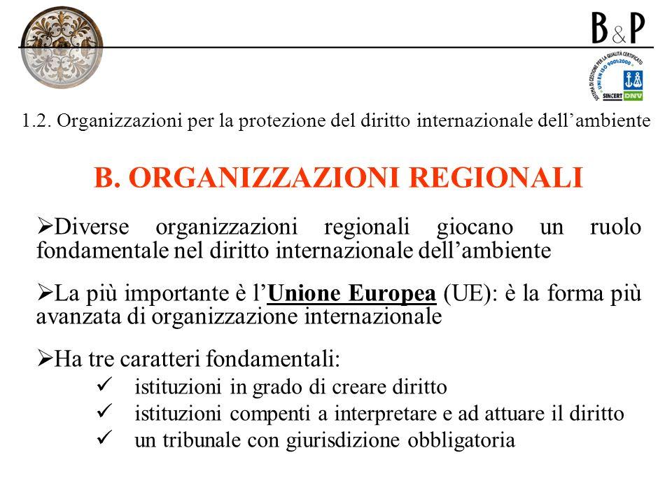 B. ORGANIZZAZIONI REGIONALI