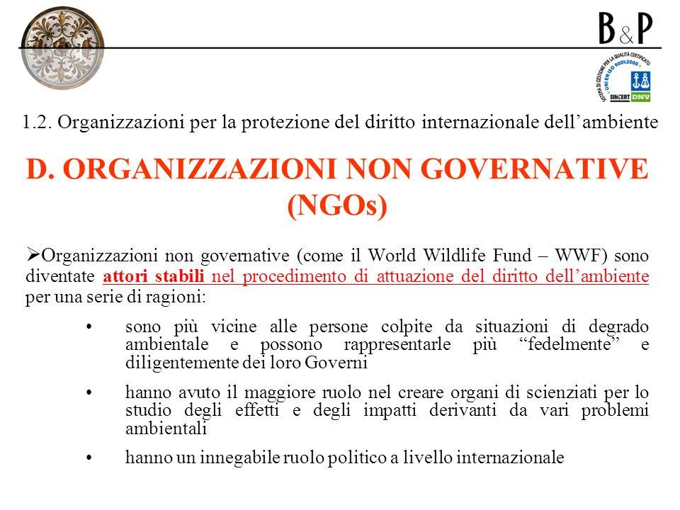 D. ORGANIZZAZIONI NON GOVERNATIVE