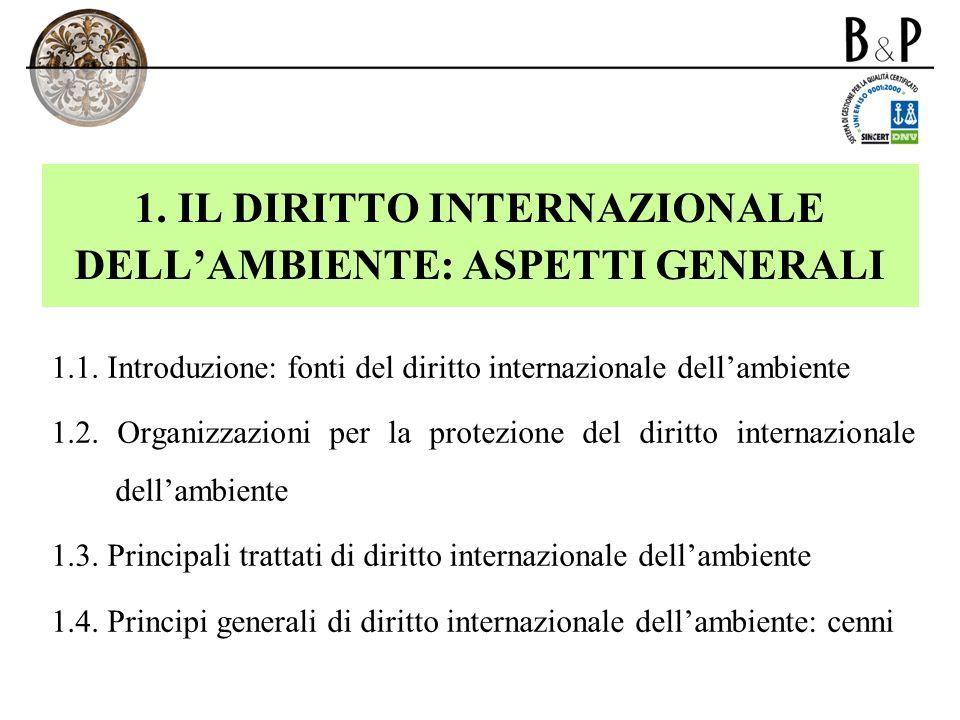 1. IL DIRITTO INTERNAZIONALE DELL'AMBIENTE: ASPETTI GENERALI