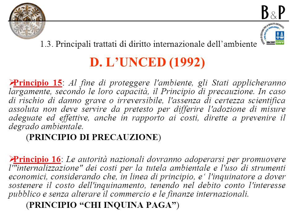 1.3. Principali trattati di diritto internazionale dell'ambiente